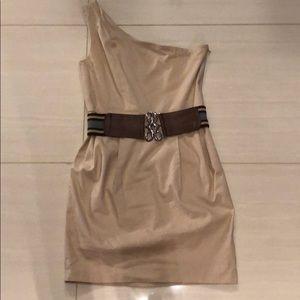 One shoulder, khaki dress with belt